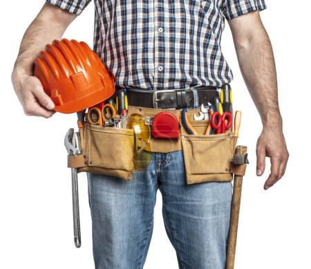 Photo for Detail of handyman with toolsbelt and tools isolated on white background - Royalty Free Image