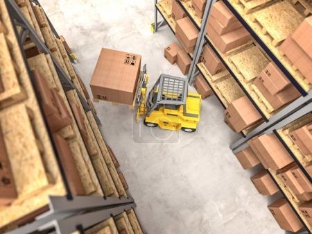 Photo pour Entrepôt et chariot élévateur jaune en action image de rendu 3d - image libre de droit