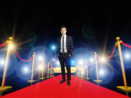 Photo for Man standing on 3d image of classic red carpet - Royalty Free Image