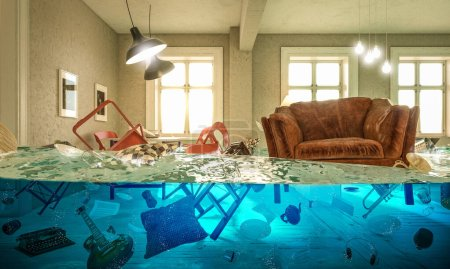 Photo for Living room flooded with floating chair and no one above. Concept of domestic problems. 3d image render. - Royalty Free Image