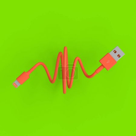 Photo for Coral-colored usb connection cable on a green background. 3d render - Royalty Free Image
