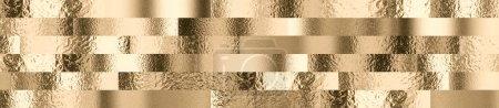 Photo pour Fond avec différents effet martelé de couleur or. concept de luxe et de richesse. 3d rendu. l'espace de copie. variété de textures et de couleurs . - image libre de droit