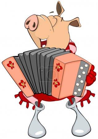 cartoon pig playing accordion