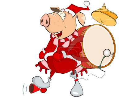 Cartoon pig with drum on back