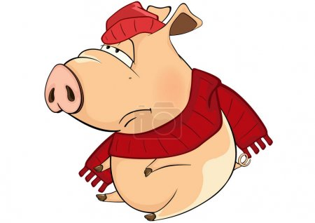Cartoon tired pig in hat and scarf