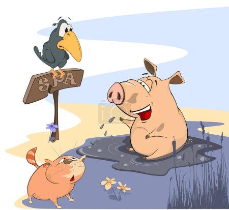 Krähe und Katze betrachten Schwein in Pfütze