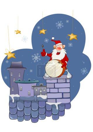 Illustration pour Illustration d'un musicien mignon du Père Noël sur un toit . - image libre de droit