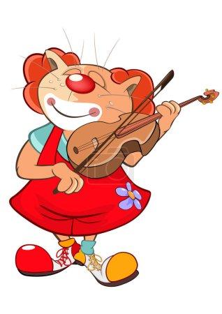 Cute Cat Clown Violinist.