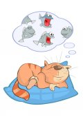 Cute cartoon vector cat dreaming about fishes