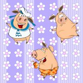 Cute funny pigs