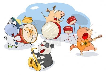 Illustration pour Illustration vectorielle du Grand Orchestre Animalier - image libre de droit