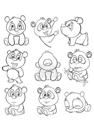 Illustration pour Illustration vectorielle d'un panda de personnage de bande dessinée mignon pour vous Conception et jeu d'ordinateur. Ensemble de contours de livre à colorier - vecteur - image libre de droit