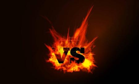 VS comparison of a vector background with a fiery flame