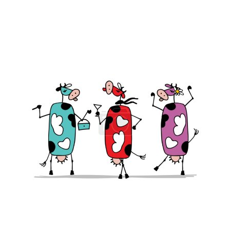 Funny colorful cows on the party, sketch for your design