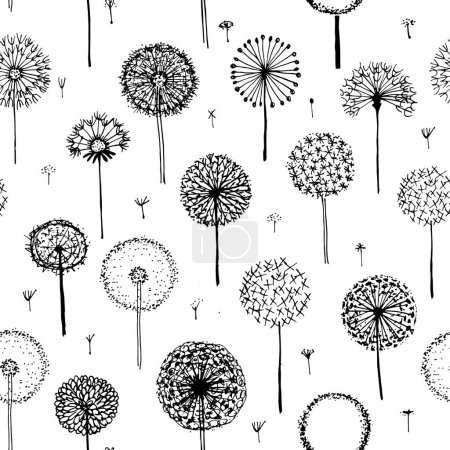 Dandelions, seamless pattern for your design