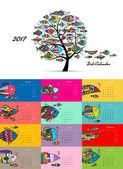Art fish tree Design calendar 2017
