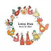 Hens and roosters in henhouse sketch for your design