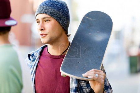 Teenager walking down the stree