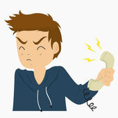 Man Holding Phone Handle Vector Collection