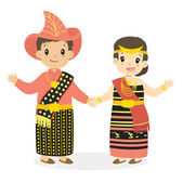 Happy boy and girl wearing Nusa Tenggara Timur traditional dress and holding hands Indonesian children NTT traditional dress cartoon vector