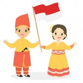 Happy boy and girl wearing Southeast Sulawesi traditional dress and holding Indonesian flag Indonesian children Southeast Sulawesi traditional dress cartoon vector