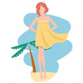 Young girl is wearing pareo staying over blue sky and beach sand Windy Flat vector illustration