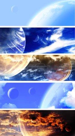 Photo pour Ensemble de bannières espace horizontal avec les planètes et les nuages. Éléments de cette images fournies par la Nasa. rendu 3D - image libre de droit