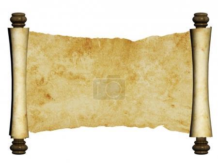 Photo pour Vieux parchemin. Isolé sur fond blanc. Espace de copie. 3d rendu - image libre de droit