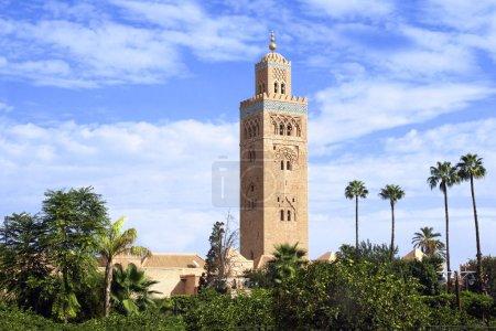 Famous Moroccan Koutoubia Mosque minaret, Marrakech, Morocco