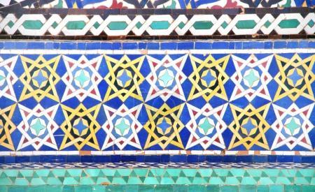 Photo pour Détail du mur de mosaïque marocaine traditionnelle, Maroc, Afrique du Nord - image libre de droit
