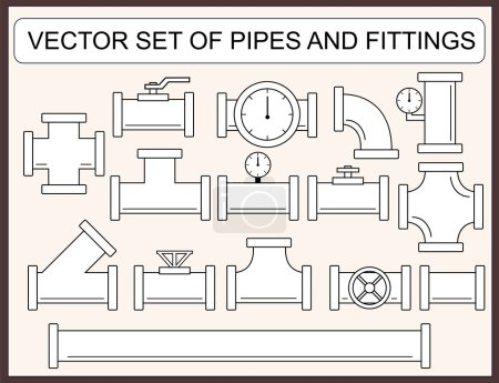 Illustration for Vector collection of pipes and fittings - Royalty Free Image