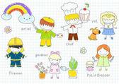 Happy children's in work wear