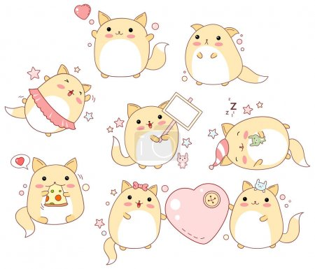 Illustration for Collection of cute cats with different emotions in kawaii style - Royalty Free Image
