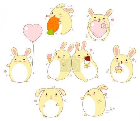 Set of cute rabbits in kawaii style