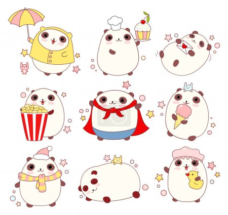 Illustration for Collection of cute pandas in different situations (sleeping, eating, bathing, walking outdoor) and costumes (chef, superhero), in kawaii style - Royalty Free Image