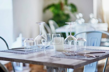 Wine glasses in restaurant or cafe