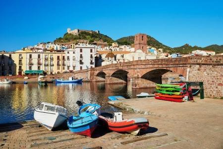 Colorful fishing boats in Bosa, Sardinia, Italy