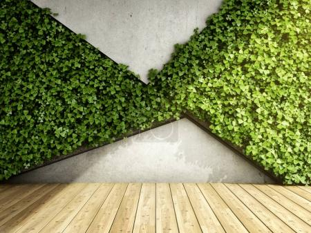 Photo for Wall in modern interior with concrete blocks and vertical garden. 3D illustration. - Royalty Free Image