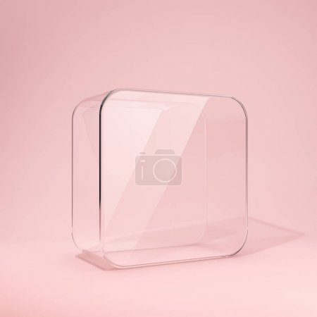 Photo for Blank branded glass box on pink background. 3D illustration. - Royalty Free Image