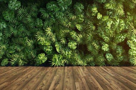 Photo pour Mur de jardin vertical, décoration végétale verte, illustration 3D, rendu . - image libre de droit