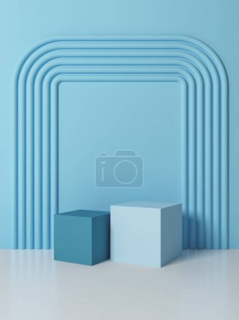 Photo for Stand for product, abstract geometric shapes, blue colors, 3D illustration, rendering. - Royalty Free Image