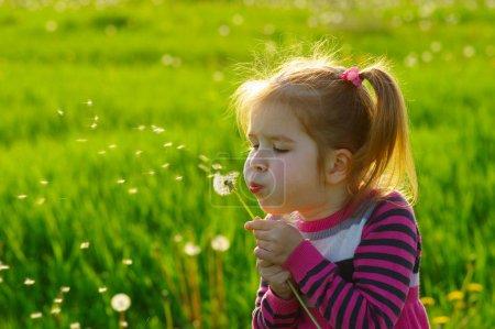 Photo pour Fille soufflant pissenlit à l'extérieur dans le champ de printemps - image libre de droit