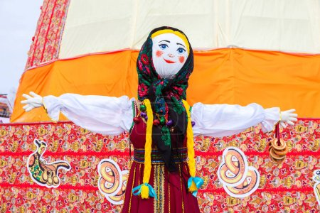 Big doll as the symbol of Maslenitsa during the folk carnival