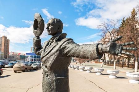 Bronze monument of Yuriy Detochkin, the protagonist of the Sovie