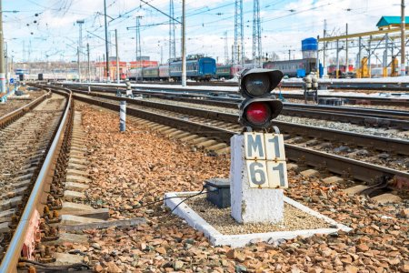View of the railway track at the Samara railway station in sunny