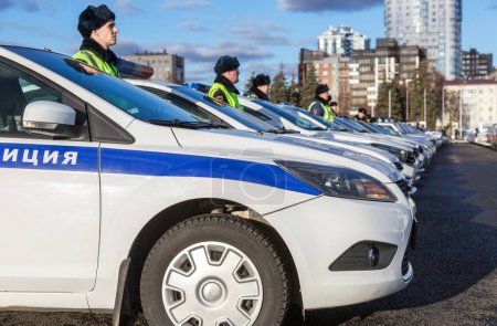 Russian police patrol cars of the State Automobile Inspectorate