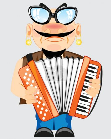 Man plays on accordeon