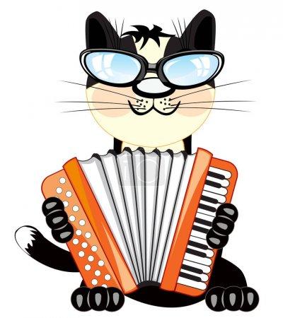Cat plays on accordeon