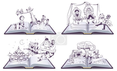 Set Open book illustration tale story of Pinocchio, Cipollino, Alladin and Puss in Boots