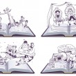 Постер, плакат: Set Open book illustration tale story of Pinocchio Cipollino Alladin and Puss in Boots